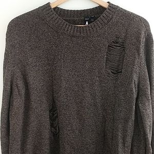 Topman Destroyed Distressed Sweater Crew Neck